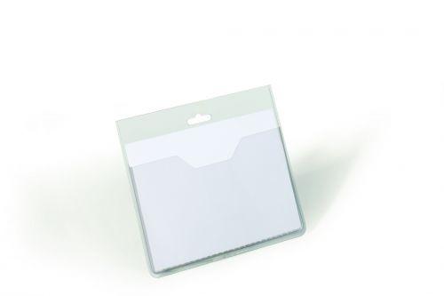Durable Visitors Name Badges No Clip Landscape 60x90mm 8136 [Pack 20]