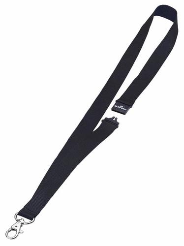 Durable Textile Name Badge Lanyards 20x440mm with Safety Closure Black Ref 813701 [Pack 10]