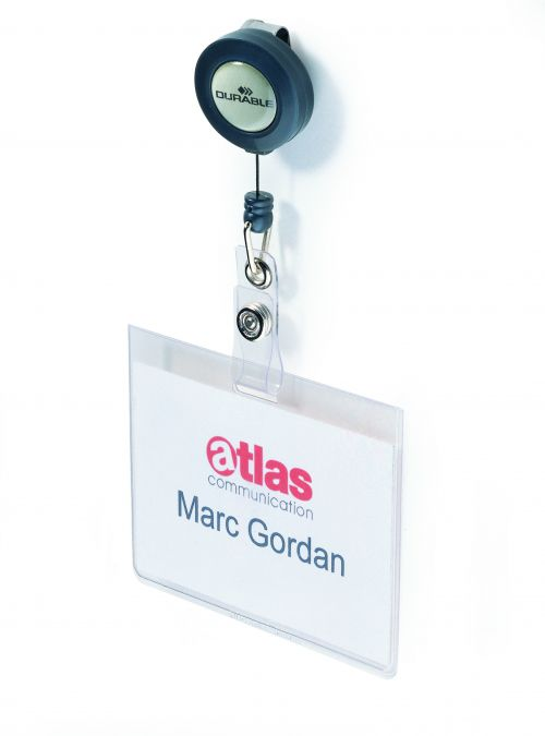 Durable Mono Security Pass Holder with Badge Reel Transparent (Pack of 10) 8138/19