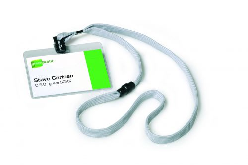 Durable Visitor Name Badges with Textile Lanyard with Safety Closure Grey Ref 8139-10 [Pack 10]