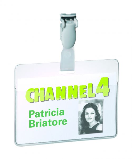 Durable Visitor Badge with rotating clip 60x90mm Landscape Ref 8147 [Pack 25]