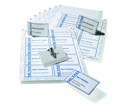 Durable Combi Clip Name Badge Set 54x90mm Pack 20 Badges and 60 Inserts