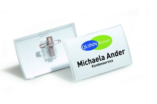 Durable Name Badge with Combi-Clip 40x75mm 8211 (PK25)