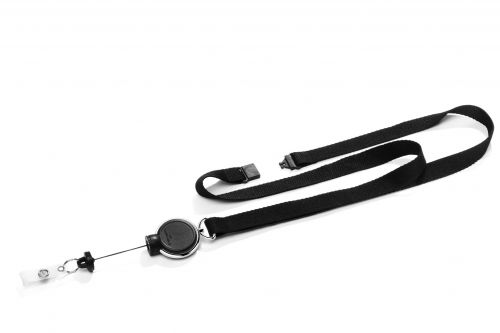 Durable Textile Lanyard with Badge Reel Extra Strong Black Pack of 5