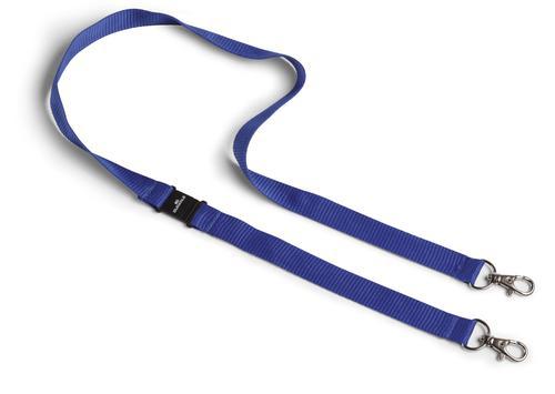 Durable Textile Lanyard Duo Dark Blue Pack of 10