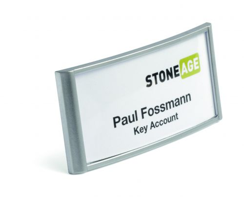 Durable Classic Name Badge With Magnet 30x65mm 854023 Silver [Box of 10]