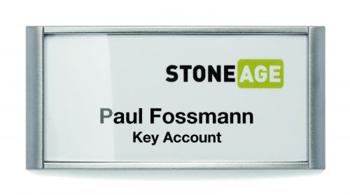 Durable Classic Name Badge With Magnet 34x74mm 854223 Silver [Box of 10]
