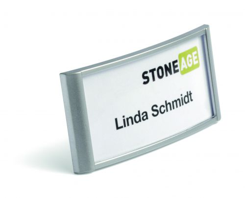 Durable Classic Name Badge With Combi Clip 34x74mm 854323 Silver [Box of 10]