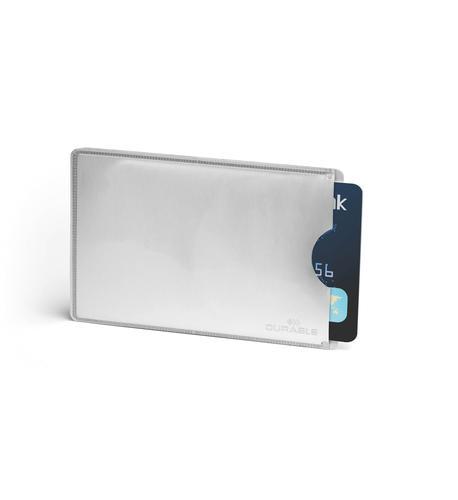 Durable Card Sleeve RFID Secure Silver Pack 10