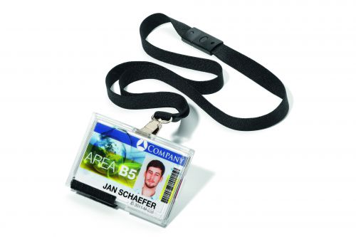 Durable Pushbox Trio Card Holder with Lanyard Pack of 10