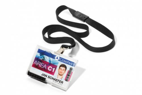 Durable ID Card Holder PUSHBOX DUO with Black Lanyard 892601 [Pack 10]