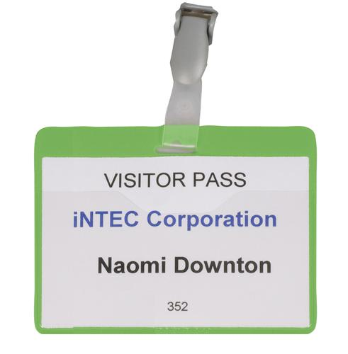 Value Visitors Name Badge Green 60x90mm 999108007 [Pack 25]