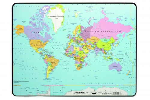 Durable Desk Mat with World map 40x53cm
