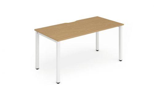 Single White Frame Bench Desk 1200 Oak