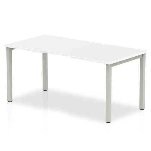 Single Silver Frame Bench Desk 1600 White