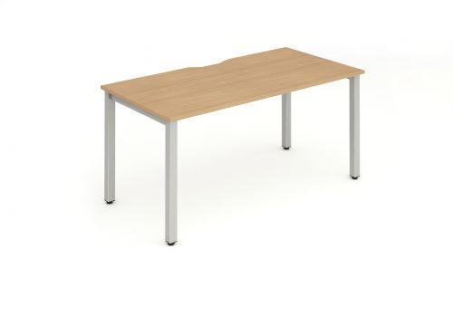 Single Silver Frame Bench Desk 1400 Beech