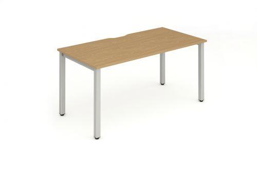 Single Silver Frame Bench Desk 1200 Oak
