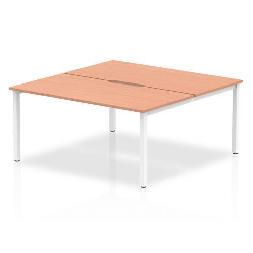 B2B White Frame Bench Desk 1600 Beech (2 Pod)
