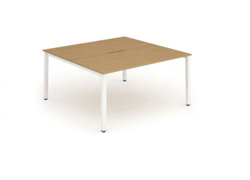 B2B White Frame Bench Desk 1400 Oak (2 Pod)