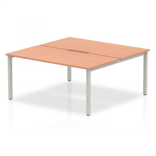B2B Silver Frame Bench Desk 1600 Beech (2 Pod)