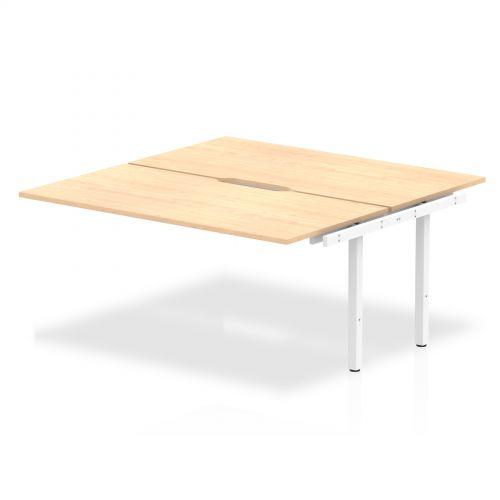 B2B Ext Kit White Frame Bench Desk 1600 Maple