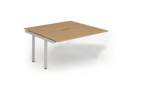 B2B Ext Kit Silver Frame Bench Desk 1400 Oak