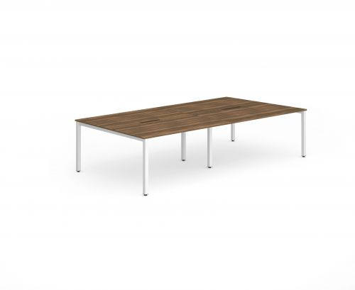 B2B White Frame Bench Desk 1400 Walnut (4 Pod)