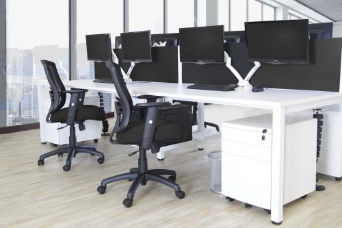 Superb B2B Silver Frame Bench Desk 1600 White 4 Pod Cjindustries Chair Design For Home Cjindustriesco