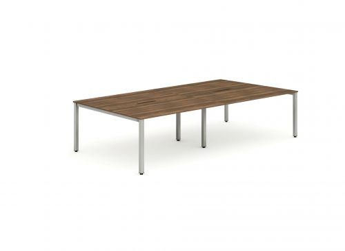 B2B Silver Frame Bench Desk 1400 Walnut (4 Pod)