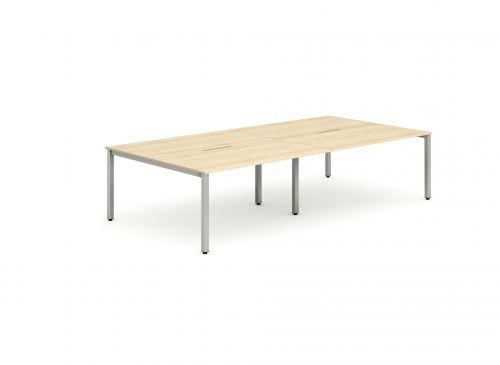 B2B Silver Frame Bench Desk 1400 Maple (4 Pod)