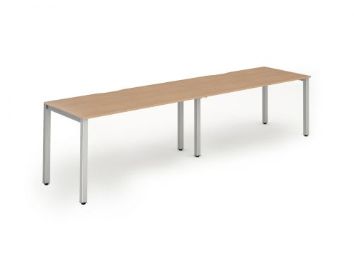 Single Silver Frame Bench Desk 1400 Beech (2 Pod)