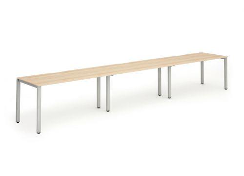 Terrific Single Silver Frame Bench Desk 1400 Maple 3 Pod Creativecarmelina Interior Chair Design Creativecarmelinacom