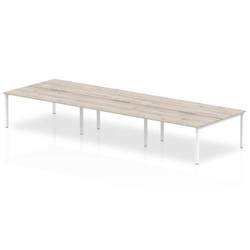 B2B White Frame Bench Desk 1200 Grey Oak (6 Pod)