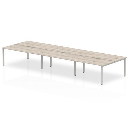 B2B Silver Frame Bench Desk 1600 Grey Oak (6 Pod)