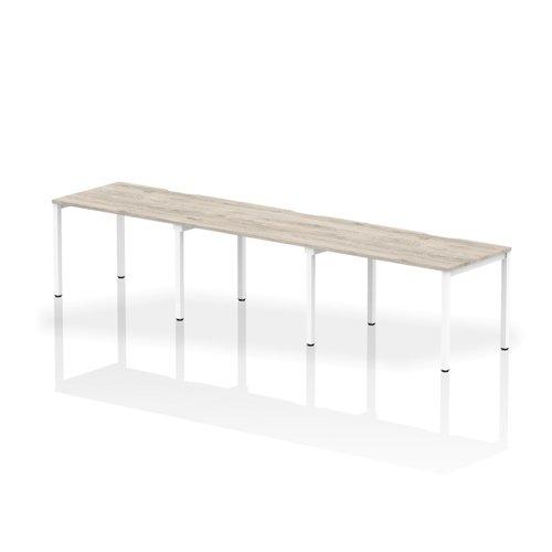 Single White Frame Bench Desk 1200 Grey Oak (3 Pod)