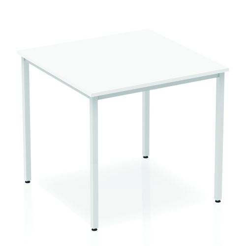 Impulse Straight Table 800 White Box Frame Leg Silver