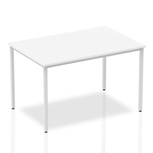 Impulse Straight Table 1200 White Box Frame Leg Silver