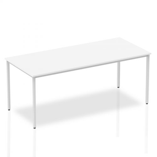 Impulse Straight Table 1800 White Box Frame Leg Silver