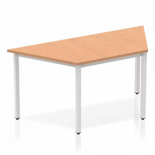 Impulse Trapezium Table 1600 Oak Box Frame Leg Silver