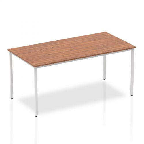 Impulse Straight Table 1600 Walnut Box Frame Leg Silver