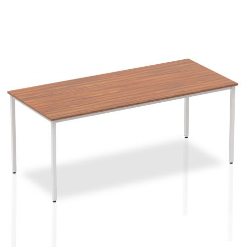 Impulse Straight Table 1800 Walnut Box Frame Leg Silver