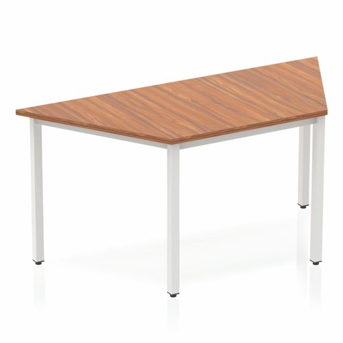 Impulse Trapezium Table 1600 Walnut Box Frame Leg Silver
