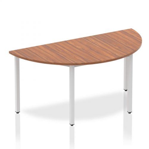 Impulse Semi-circle Table 1600 Walnut Box Frame Leg Silver