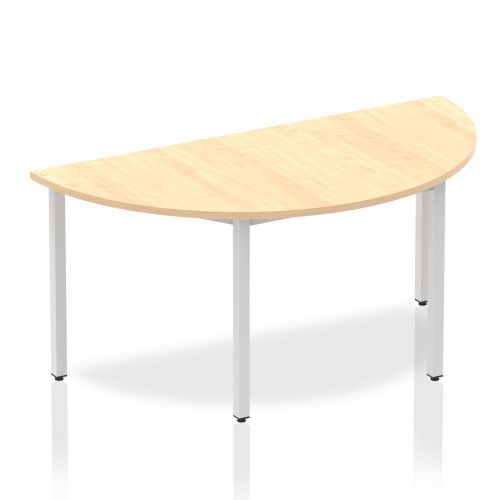 Impulse Semi-circle Table 1600 Maple Box Frame Leg Silver
