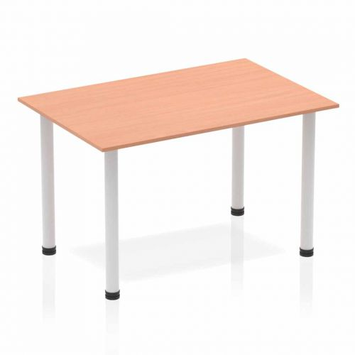 Impulse Straight Table 1200 Beech Post Leg Silver