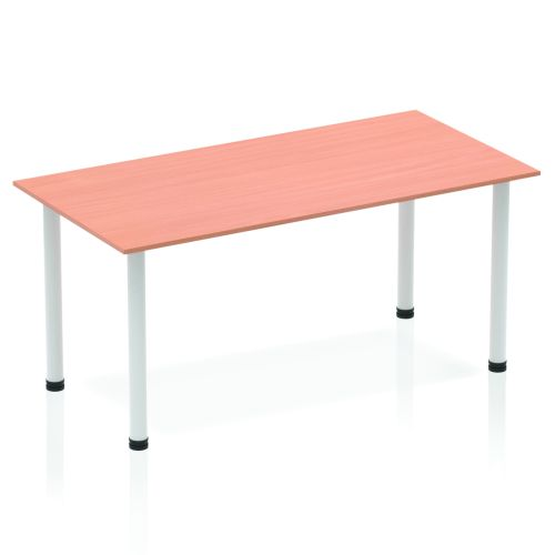 Impulse Straight Table 1400 Beech Post Leg Silver