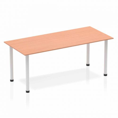 Impulse Straight Table 1800 Beech Post Leg Silver