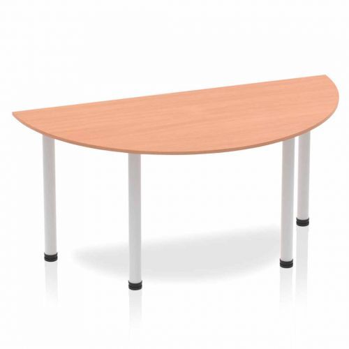 Impulse Semi-circle Table 1600 Beech Post Leg Silver