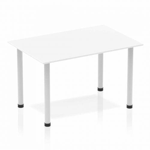 Impulse Straight Table 1200 White Post Leg Silver