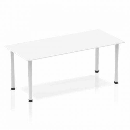 Impulse Straight Table 1800 White Post Leg Silver